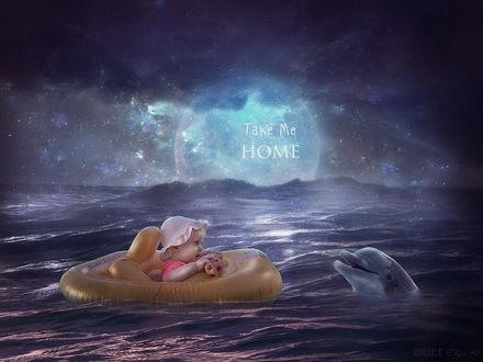 Обои Светловолосая, милая девочка в белой панаме на голове, держащая в руке игрушечный, резиновый мячик, сидящая в светло-коричневой, надувной лодке, плавающей в море, обратилась с просьбой к дельфину, высунувшемуся из воды Take Me HOME / Отвези меня ДОМОЙ, на фоне звездного небосклона и взошедшей планеты, автор Briat Olga