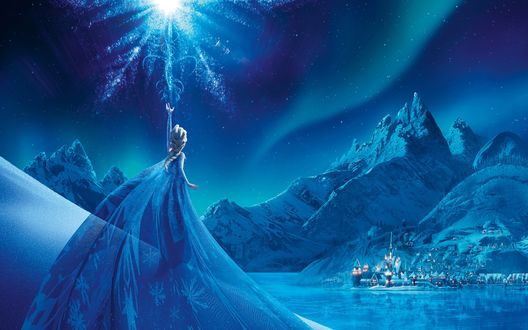 Обои Принцесса Эльза запускает в небо мистический свет, вдали на фоне гор виднеется замок и дома, мультфильм Frozen / Холодное сердце