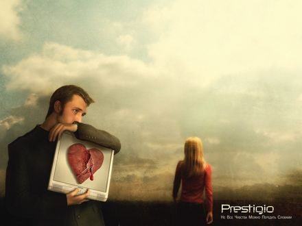 Обои Мужчина с грустным взглядом держит в руках планшет, с сочащимся кровью сердцем, от него уходит вдаль женщина, Prestigio, Не Все Чувства Можно Передать Словами