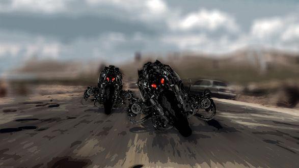 Обои Два андроида терминаторы мчатся на мотоциклах по дороге