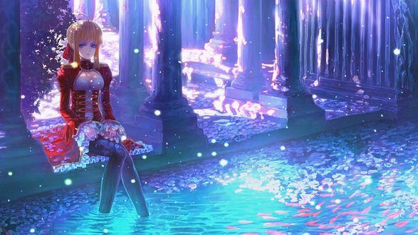 Обои Сайбер / Saber из аниме Судьба / Ночь схватки / Fate / Stay Night опустила ноги в воды бассейна в замке