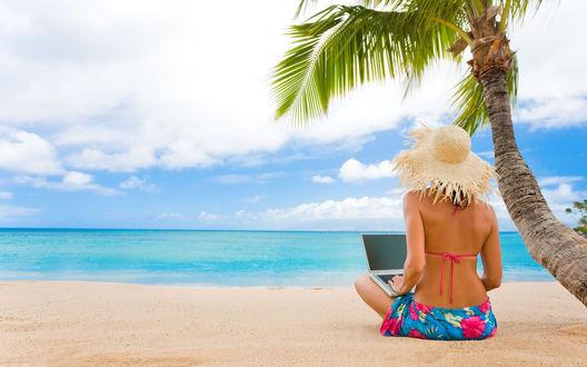 Обои Девушка с ноутбуком на берегу лазурного моря под пальмами