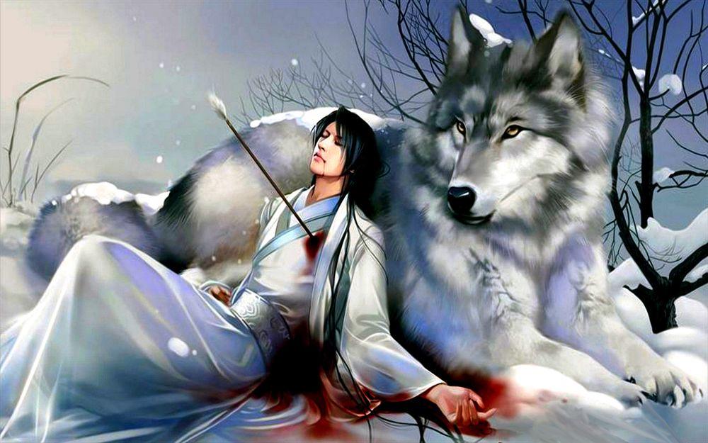 Обои для рабочего стола Мужчина восточной наружности в национальном наряде, сидит с пробитой стрелой грудью, опираясь спиной на огромного волка