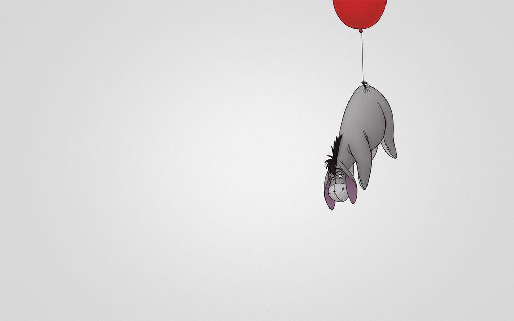 Обои для рабочего стола Ослик Иа-Иа / Eeyore/— персонаж книг Алана Милна Винни-Пух взлетает на воздушном шарике