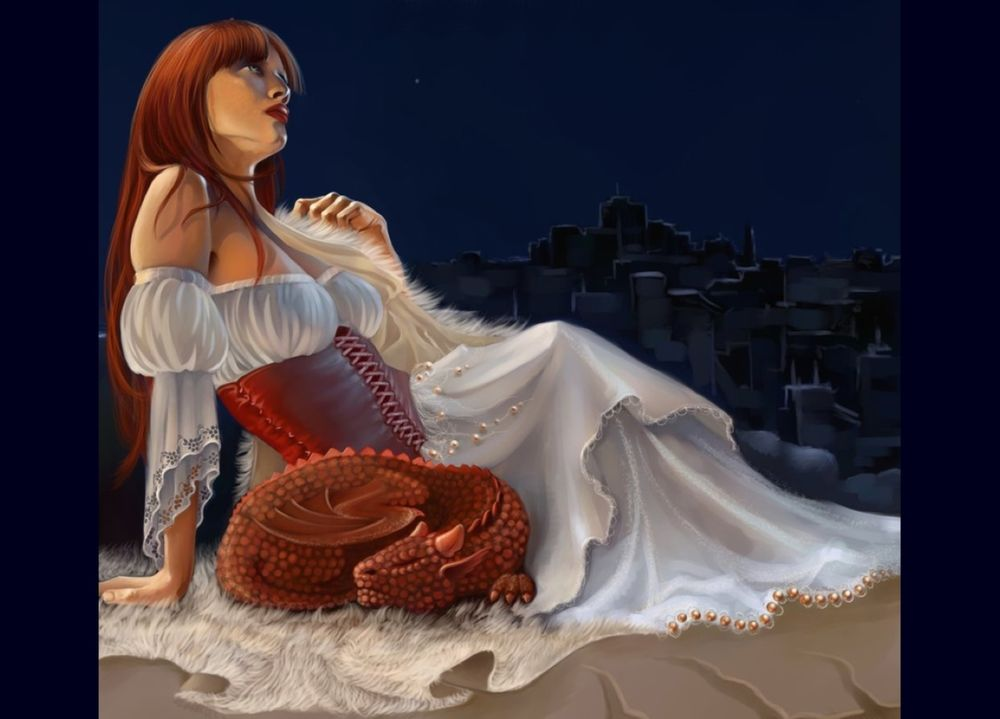 Обои для рабочего стола Девушка с рыжими волосами, в белом платье сидит задумавшись на фоне ночного города и рядом спит маленький дракон