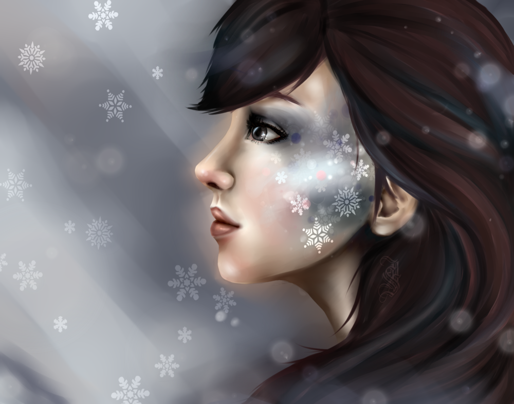 Найти, картинки зима девушка нарисованная