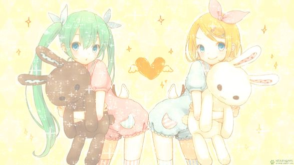 Обои Вокалоиды Хатсуне Мику и Кагамине Рин / Vocaloids Hatsune Miku and Kagamine Rin с игрушечными кроликами