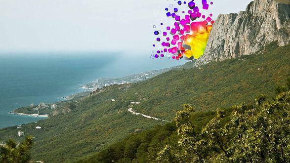 Обои Разноцветные абстрактные кубики летят из-за горы
