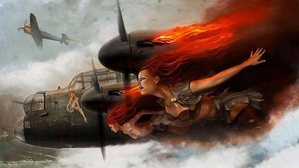 Обои Девушки Ангелы, хранители летчиков, сопровождают подбитый самолет
