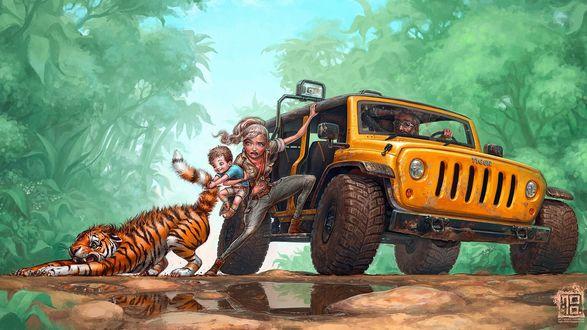 Обои С остановившейся машины выбралась женщина и тянет назад своего ребенка, который схватил за хвост перепуганного тигра, который пытается от него вырваться