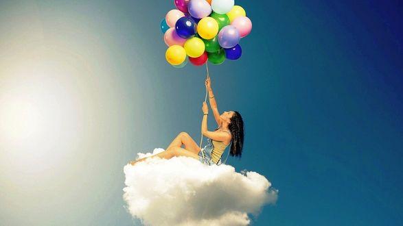Обои Девушка сидя на облаке, поднимается ввысь при помощи множества разноцветных воздушных шариков