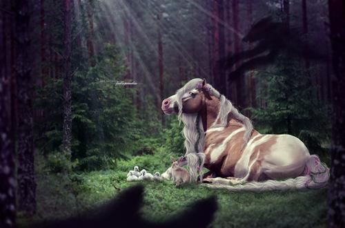 Обои Лошадь, заяц и маленькие утята лежат в лесу на поляне, освещаемые лучами солнца, которые пробиваются сквозь верхушки деревьев, спасаясь от злобного демона, который пытается на них напасть, но солнечные лучи его растворяют, by Raiiiny
