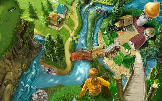 Обои Мальчик с собакой сидят на холме и смотрят на реку и деревню