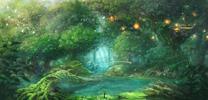 Обои Озеро в волшебном лесу около которого стоит фигура
