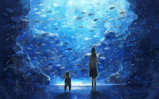 Обои Девушка и плюшевый медведь в океанариуме