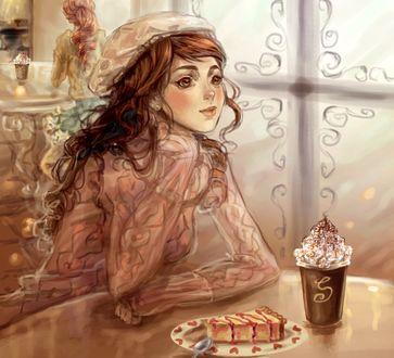 Обои Девушка сидит в кафе за столиком, на котором на тарелке лежит кусочек пирога и стоит стаканчик кофе со взбитыми сливками