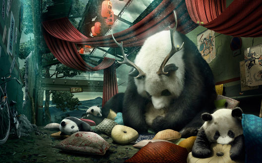 Обои Панда мама с оленьими рогами на голове и ее дети спят на мягких подушках, раскиданных по земле в разрушенном доме, у стены стоит велосипед, на балках разрушенной крыши висят китайские фонарики
