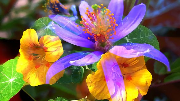 Обои Фрактальное изображение желтых и сиреневых цветов, с ярко зелеными листьями