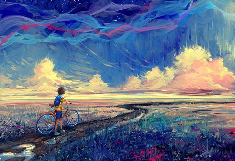 Обои Мальчик с велосипедом идет по тропинке, by Hangmoon