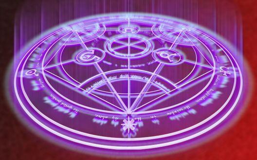 Обои Аниме, магический круг, кабалистические знаки, круг