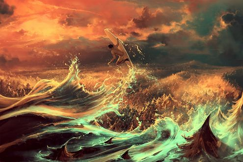 Обои Мужчина на серфинге среди бушующих морских волн