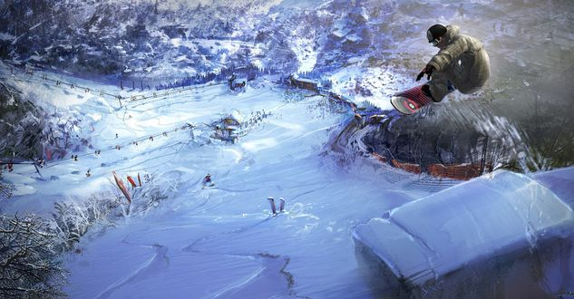 Обои Сноубордист в прыжке спускается с горы