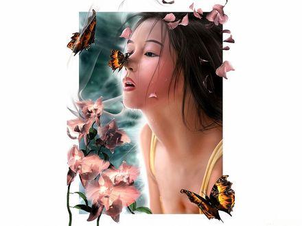 Обои Девушка восточной внешности в окружении цветов, бабочек, лепестков с цветов и с бабочкой на носу