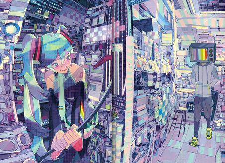 Обои Vocaloid Hatsune Miku / Вокалоид Хатсуне Мику в засаде с ломом