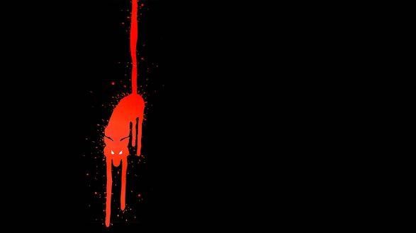 Обои Красный абстрактный волк на черном фоне