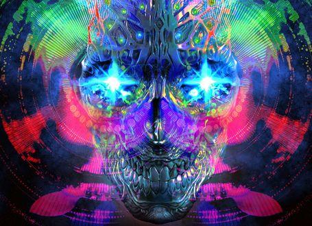 Обои Голова андроида в виде черепа со светящимися голубым сиянием глазами, на фоне разноцветной абстракции