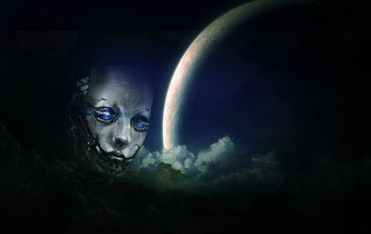 Обои Голова робота на фоне облачного неба с огромной Луной