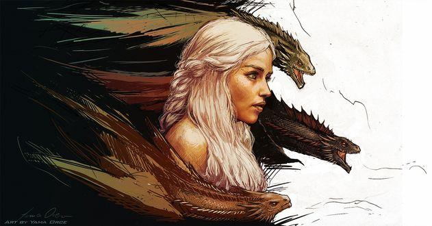 Обои Дайенерис Таргариен / Dayeneris Targaryen из сериала Игра престолов / Game of Thrones под охраной трех драконов, art by Yama Orce