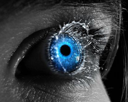 Обои С голубого глаза обильно выливаются слезы