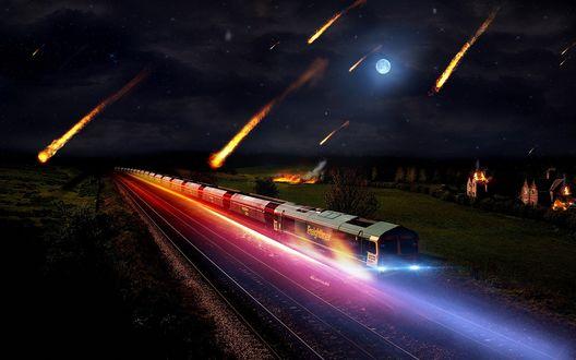Обои Метеоритный дождь, под который попал ночной город и поезд