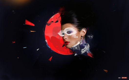 Обои Гламурная девушка в белой маске на глазах, на фоне красного круга с абстрактными фрагментами красного цвета