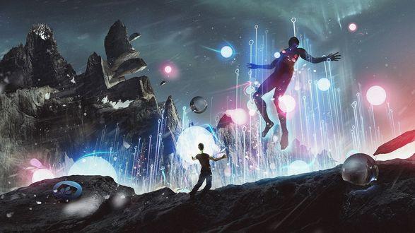 Обои Апокалипсис на планете, рушатся горы, людей уносят голубые лучи, летают прозрачные и светящиеся шары