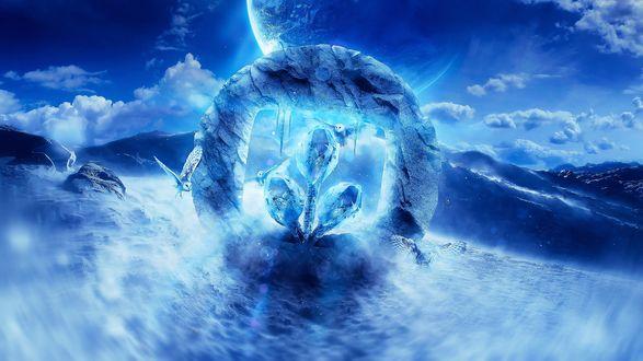 Обои Абстракция зимы с летящими совами