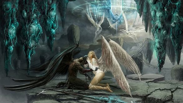 Обои Ангел и демон среди чужой планеты