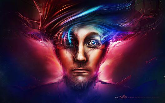 Обои Абстрактное лицо небритого мужчины с хаотичной прической, 3D дизайнер Adam Martinakis