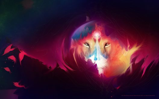 Обои Сквозь огромный огненный шар над планетой просматривается абстрактная морда льва, 3D дизайнер »Adam Martinakis