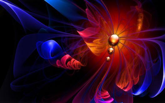Обои Абстракция похожая на тело бабочки с крыльями, синего, красного, желтого цветов