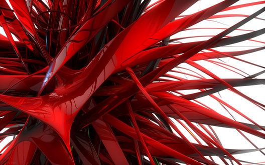 Обои Абстракция в виде хаотичных красных колючек
