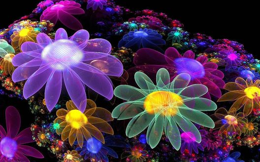 Обои Абстракция в виде разноцветных прозрачных цветов