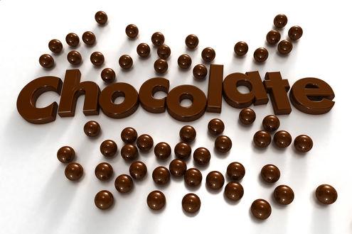 Обои Слово Шоколад / Chocolate / в окружении шоколадных шариков