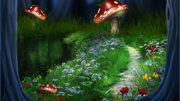 Обои Сказочные мухоморы на полянке с цветами у речки