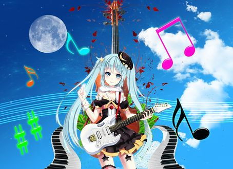 Обои Vocaloid Hatsune Miku / Вокалоид Хатсуне Мику с гитарой в берете на фоне неба и нот