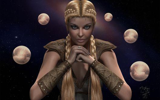 Обои Девушка блондинка с косами на голове, сидит сложив руки в окружении планет