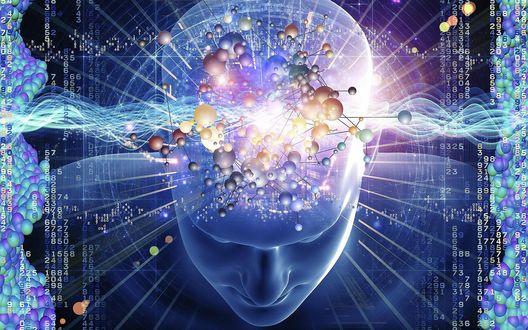 Обои Тайны человеческого разума с колонками цифр, молекул, атомов