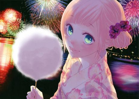 Обои Вокалоид / vocaloid Megurine Luka в кимоно со сладкой ватой на фоне ночного салюта