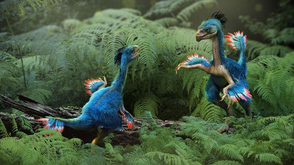 Обои Два динозаврика в сказочном лесу